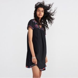 Madewell Embroidered Silk Colorstitch Dress